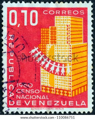 "VENEZUELA - CIRCA 1961: A stamp printed in Venezuela from the ""National Census"" issue shows Skyscraper, circa 1961. - stock photo"