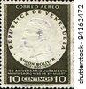 VENEZUELA-CIRCA 1955: A stamp printed in VENEZUELA shows image of the Simon Jose Antonio de la Santisima Trinidad Bolivar y Palacios Ponte y Blanco, commonly known as Simon Bolivar circa 1955 - stock photo