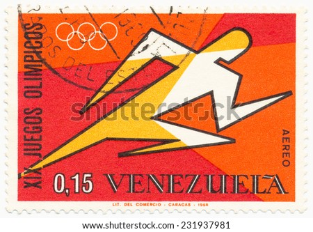 VENEZUELA - CIRCA 1968: A stamp printed in Venezuela shows stylized figure of a runner, XIX Olympics in Mexico, circa 1968 - stock photo