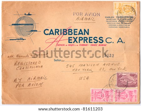 VENEZUELA - CIRCA 1957: An old used Venezuelan envelope (campaign poster) and four postage stamps issued in honor of the 400th Anniversary of Republic of Venezuela, series, circa 1957 - stock photo