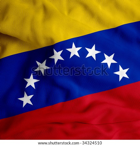 Venezuela cloth flag - stock photo