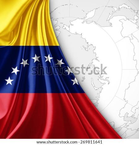 Venezuela flag and world map background - stock photo