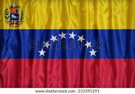 Venezuela flag pattern on the fabric texture ,vintage style - stock photo