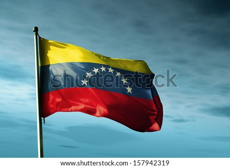 Venezuela flag waving in the evening - stock photo