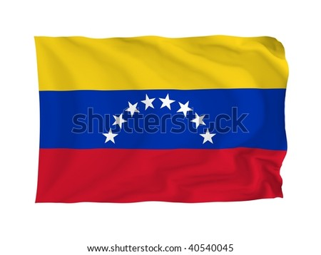 Venezuela. High resolution South American Flag series. With fabric texture.