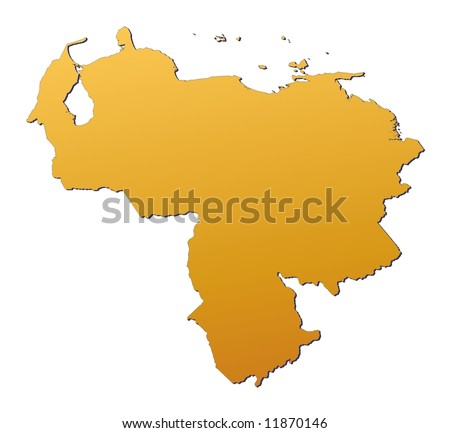 Venezuela map filled with orange gradient. Mercator projection. - stock photo
