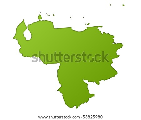 Venezuela map in gradient green, isolated on white background. - stock photo