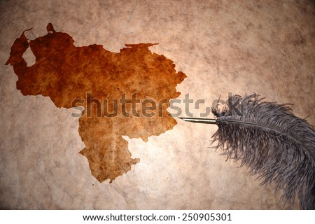 Venezuela map on vintage paper with old pen - stock photo