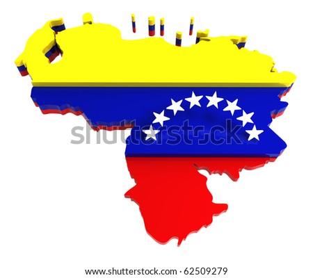 Venezuela, map with flag, 3d illustration, isolated on white - stock photo