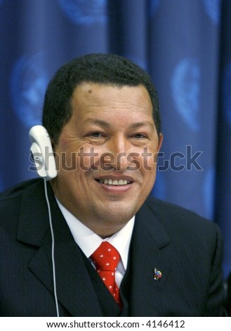 Venezuela's President Hugo Chavez answering questions during a press conference at the United Nations Headquarters on  September 20, 2006 in New York City. - stock photo