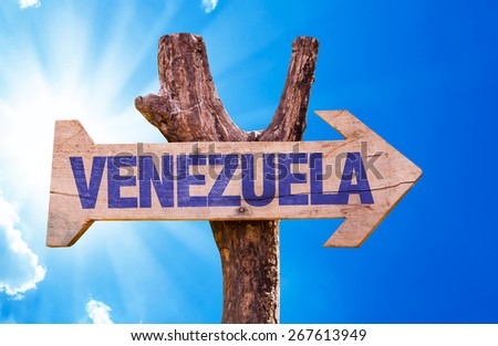 Venezuela wooden sign with sky background - stock photo