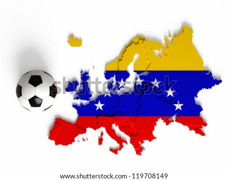 Venezuelan flag on European map with national borders, isolated on white background - stock photo