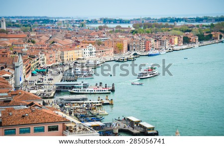 VENICE APRIL 14: View from roof on romantic city Venice on April 14th, 2015 in Italy