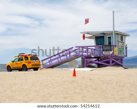 VENICE BEACH, CA - MAY 28: The Portraits of Hope project transforms lifeguard towers along the LA Coastline by painting them with colorful artwork May 28, 2010 in Venice Beach, CA. - stock photo