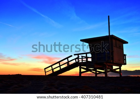 Venice Beach Lifeguard Stand at Sunset