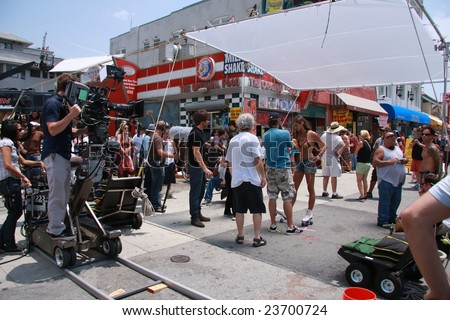 Venice Beach, Los Angeles - 17 July 2008. Filming of the hit TV show Californication staring David Duchovny - stock photo