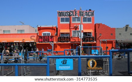 VENICE BEACH, UNITED STATES - APRIL 14, 2015 : view of painted walls in Venice beach, in Los angeles, california, united states - stock photo