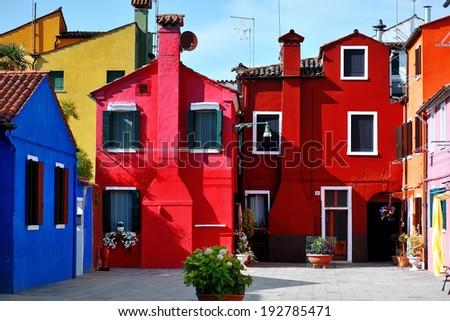 Venice, Burano island, bright colored houses, Italy - stock photo