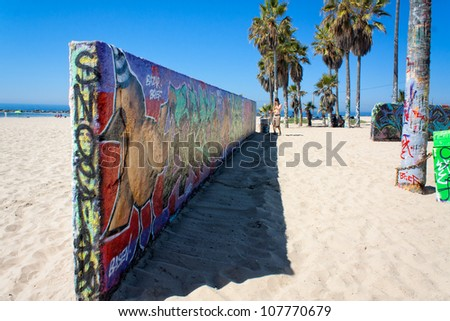 VENICE,CA-CIRCA SEPT 2010:An unidentified artist practices his art on the Venice Public Art Graffiti Walls circa Sept. 2010.The Venice Public Art Walls are managed by a local public arts organization - stock photo