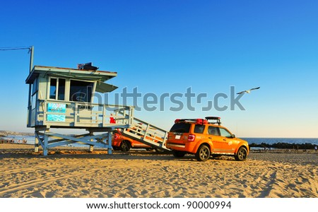 VENICE, CA - OCTOBER 17: Lifeguard tower in Venice Beach on October 17, 2011 in Venice, CA. Venice Beach is the headquarters of Los Angeles County Lifeguards, that has 158 lifeguard towers like this - stock photo
