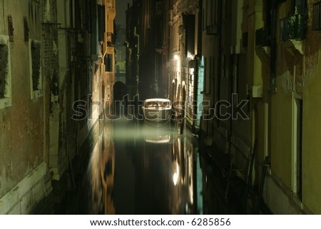 Venice canal at night - stock photo