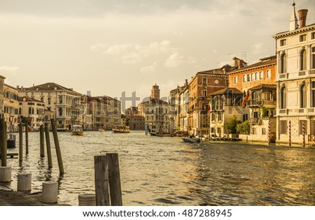 Venice canal. brick buildings water canal.