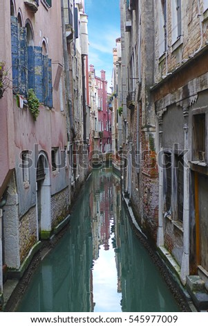 Venice Canal Italy blue sky authentic