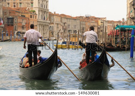 venice canals and ancient buildings gondolas - stock photo