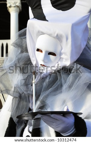 Venice carnival. Black and white mask