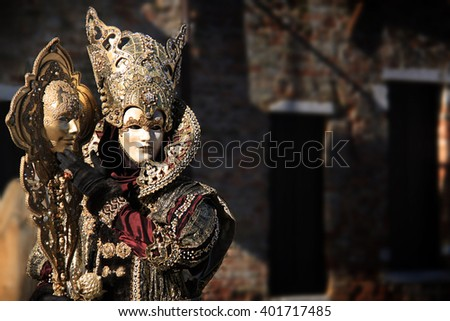 Venice carnival costume and mask.