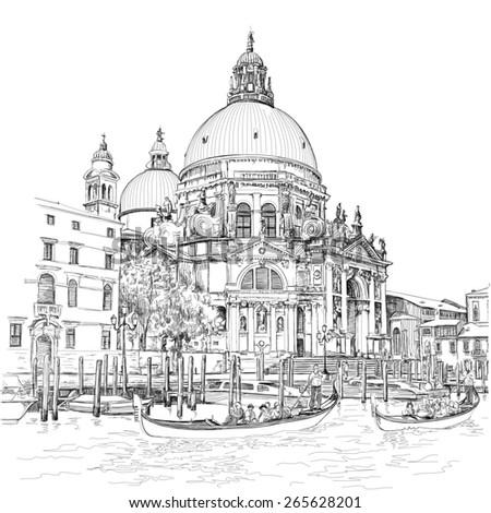 Venice - Cathedral of Santa Maria della Salute - stock photo