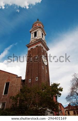 Venice city italy Bell Tower of Santi Apostoli Church landmark architecture detail - stock photo