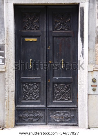 Venice doors, entrance door - stock photo