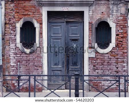 Venice doors, entrance door with window - stock photo