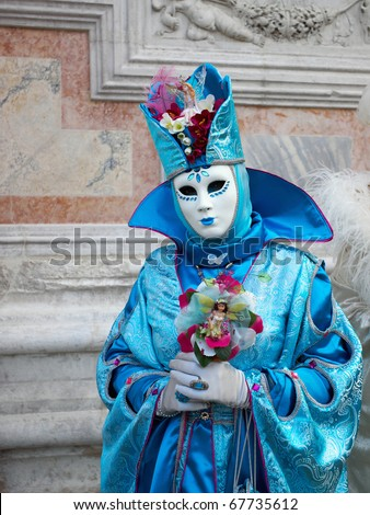 VENICE - FEBRUARY 8: Participant of The Carnival of Venice, an annual festival starting around two weeks before Ash Wednesday and ends on Shrove Tuesday or Mardi Gras in February 8, 2010 in Venice, Italy.