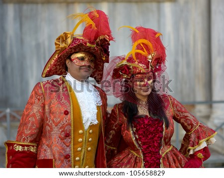 VENICE - FEBRUARY 17, 2011: Person in Venetian costume attends the Carnival of Venice, festival starting two weeks before Ash Wednesday, on February 17, 2011 in Venice, Italy.