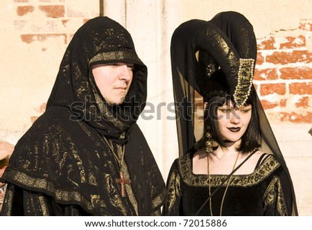 VENICE - FEBRUARY 26: Unidentified participants attend the Venice Carnival 2011 Celebration Event in Saint Mark Square on February 26, 2011 in Venice, Italy.