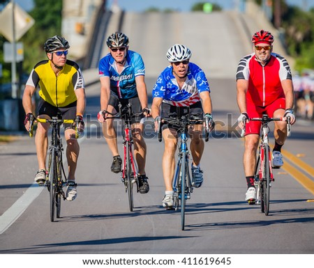 VENICE, FL - APRIL 24 - Four cyclists from all over the country participated in the Sharky Ride the Beaches event in Englewood and Venice, Florida on April 24, 2016 - stock photo