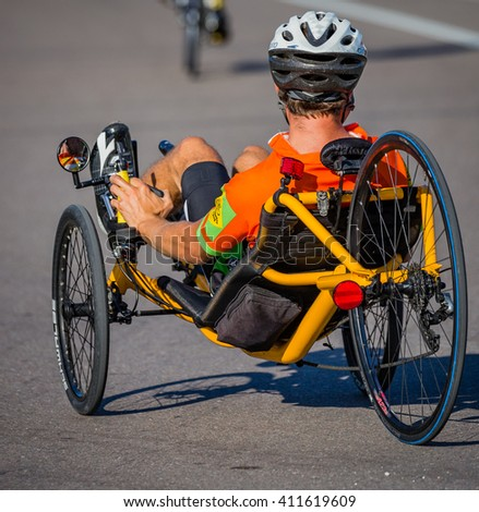 VENICE, FL - APRIL 24 - Recumbant cyclists  participated in the Sharky Ride the Beaches event in Englewood and Venice, Florida on April 24, 2016 - stock photo