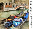 Venice. gondolas. artwork in painting style - stock photo