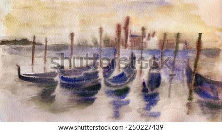 Venice gondolas in The Grand Canal at sunset. Wet watercolor picture - stock photo