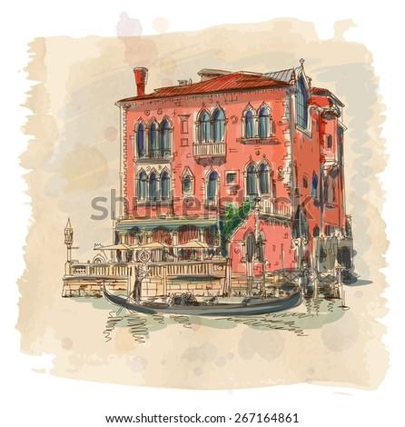 Venice - Grand Canal. Ancient building & gondola - stock photo