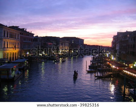 Venice grand canal at dusk - stock photo