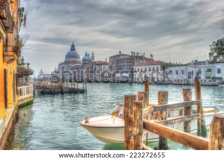 Venice grand canal in hdr tone - stock photo