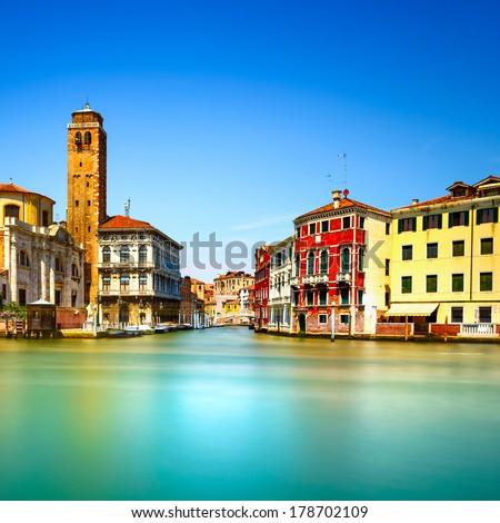 Venice grand canal, San Geremia church campanile landmark. Italy, Europe. Long exposure photography. - stock photo