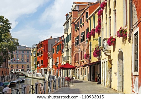 Venice Grand canal with gondolas, Italy in summer bright day - stock photo