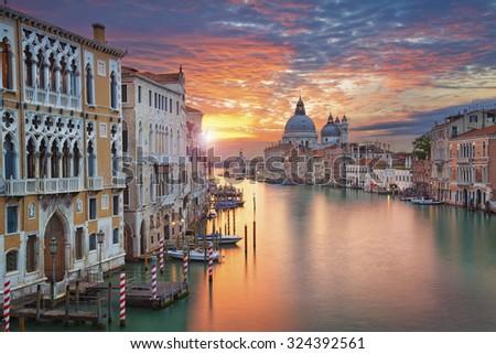 Venice. Image of Grand Canal in Venice, with Santa Maria della Salute Basilica in the background. - stock photo