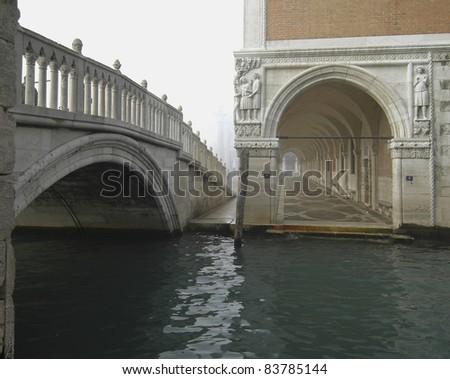 Venice in the fog - stock photo