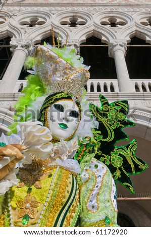 VENICE, IT - FEBRUARY 16: Unidentified disguised woman posing at the Carnival of Venice February 16, 2009 in Venice, IT. - stock photo