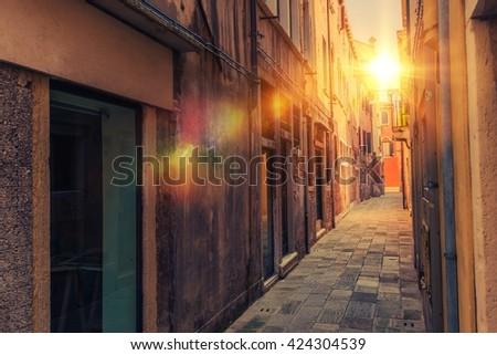 Venice Italian Destination. Narrow Venetian Pathway. - stock photo